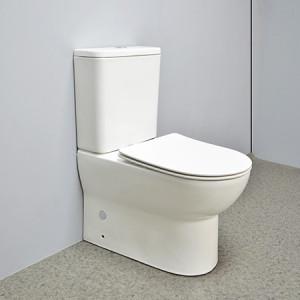 Großhandel Keramik randlose Toilette P-Trap Dual-Flush-Toilette 3 / 4.5L zurück zur Wand zweiteilige Toilette eng gekoppelte Toilette WC Bad Sanitär-Toilette