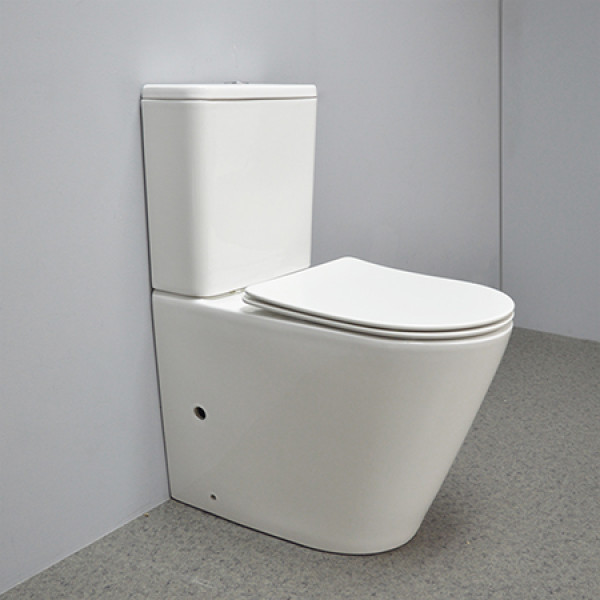 MWD comfort height rimless two piece toilet p-trap back to wall bathroom