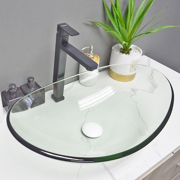 lavabo de cristal templado claro de la encimera de la forma redonda del lavabo para el hotel