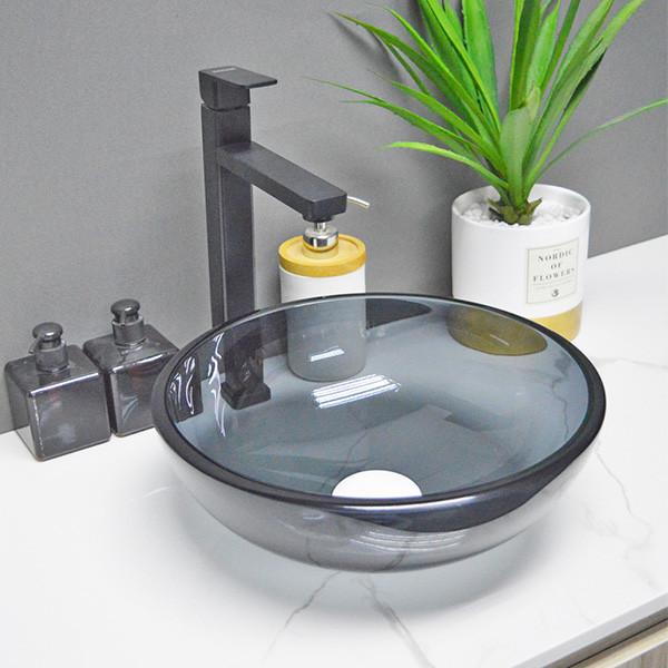 Modern tempered Galss small wash basin black vessel bowl for bathroom