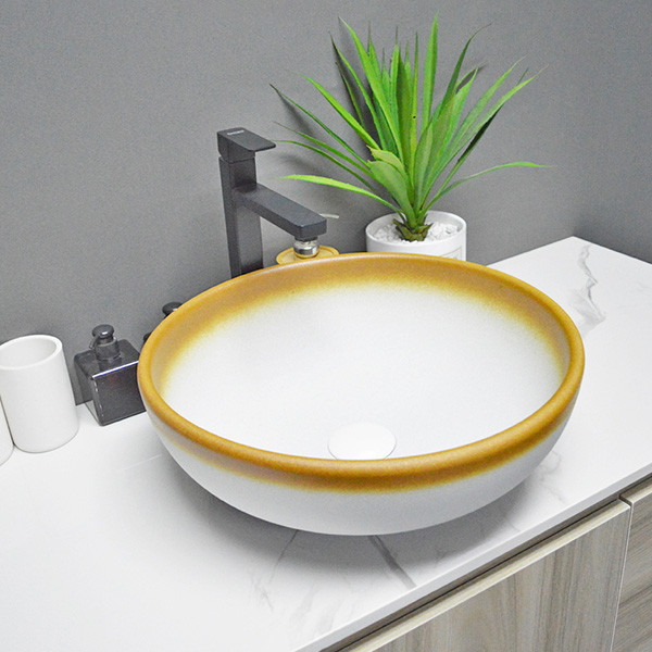 Waschbecken Badezimmer Keramik weiß mit gelber Farbe Handwaschbecken für Zuhause oder Hotel