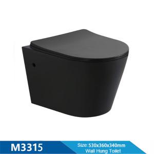 Inodoro sin reborde colgado en la pared de una pieza negro mate montado en la pared para el baño