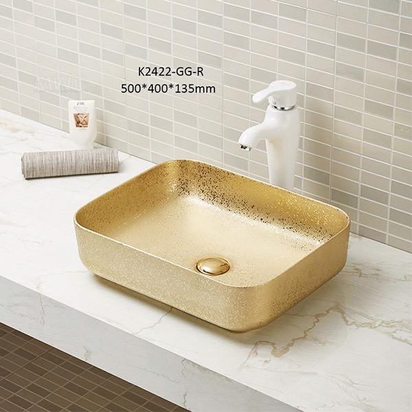 hochwertiges Waschbecken rechteckiges Becken goldfarbene Keramik für Badezimmer