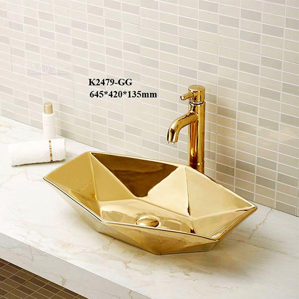 Lavabo de cerámica dorado brillante con mejores ventas del arte de la mano del lavado para el baño pequeño