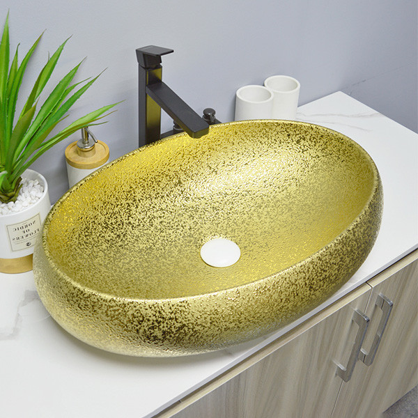 wholesale electrochapa de oro lavabo fregadero recipiente lavabo de encimera de forma ovalada