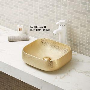 Quadratische Keramikwaschbecken Sanitärkeramik Aufsatzwaschbecken Waschbecken im Badezimmer