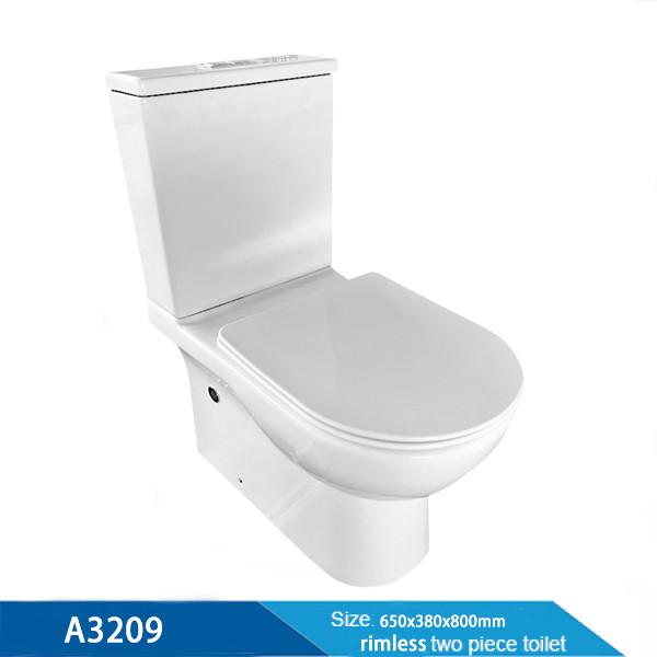 Proveedor de fábrica de China Cuarto de baño Artículos sanitarios Creamic Inodoro de marca de agua de dos piezas