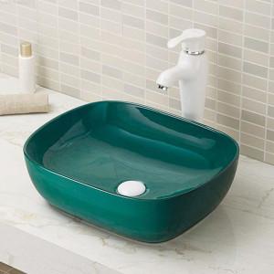 Moderno cuarto de baño rectangular brillante colorido conutertop lavabos de cerámica