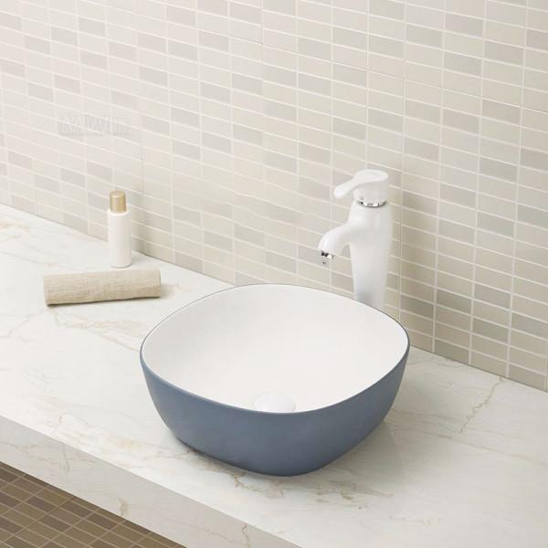 Lavabo gris vendedor caliente del fregadero del cuarto de baño del diseño de las mercancías sanitarias del cuadrado del color