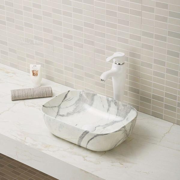 Artículos sanitarios rectangulares moderno lavabo de baño cuenco lavabos de mármol lavabos