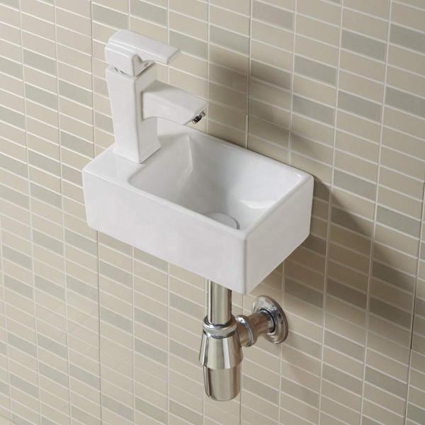 Ahorro de espacio Rectángulo Lavabo de cerámica blanco Pequeño soporte de pared para colgar para el baño