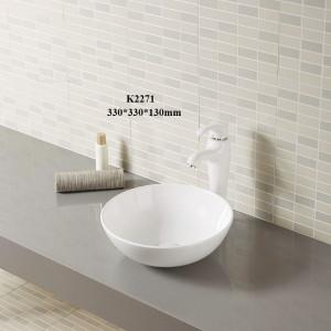 Lavabo mate de la instalación de la encimera del esmalte del diverso color de la forma redonda para el cuarto de baño