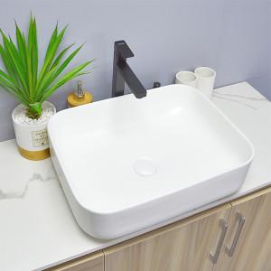 Lavabo de cerámica de color blanco con forma de rectángulo, lavabo de encimera para cuarto de baño