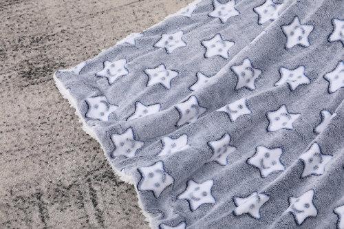 Venta al por mayor Fake Fur Soft & Skin-perfect Knitted Baby Blanket Fancy Stars