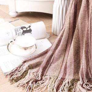 Оптовое трикотажное супер мягкое одеяло из вторсырья с кисточками от китайского поставщика