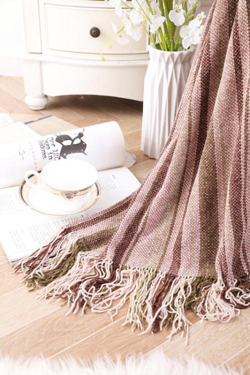 Manta de tiro reciclable súper suave tejida al por mayor con borlas del proveedor chino