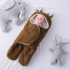 OEM Cute Newborn Recyclable Knitted Baby Sleeping Bag Wholesale Plush Swaddle Blankets