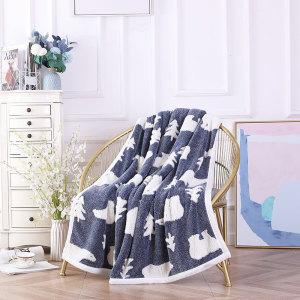 Chunky Knit Blanket Wholesale With Sherpa Fleece From Chinese Factory