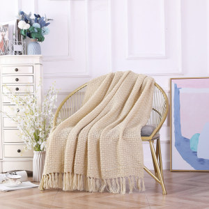 Wholesale Soft Sofa Bed Throw Couch Cover Knitted Blanket With Tassels
