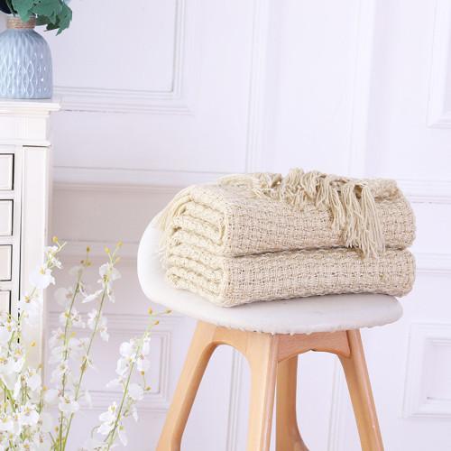 Manta hecha punto suave al por mayor de la cubierta del sofá del tiro del sofá cama con las borlas