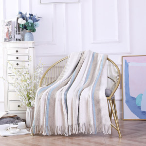 OEM Wholesale Textured Knitted Blanket With Tassels From Chinese Supplier