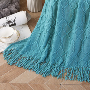 Wholesale Textured Solid Soft Sofa Throw Couch Cover Knitted Decorative Blanket