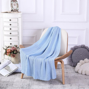 Wholesale 100% Cotton Cable Knit Throw Blanket Super Soft From Chinese Supplier