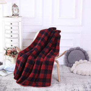 Wholesale All Season Soft Chunky Knit Blanket Quilt Throw with Sherpa Lining