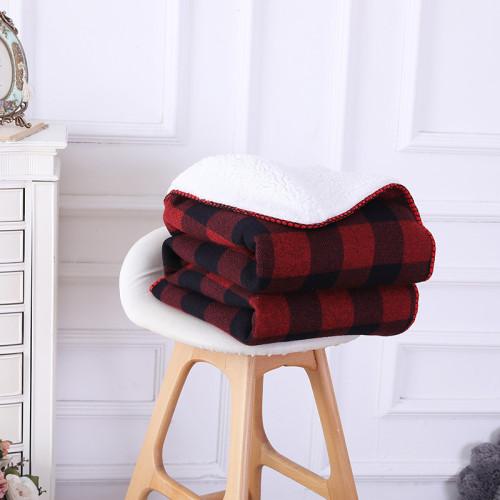 Оптовые всесезонные мягкие толстые трикотажные одеяла с подкладкой из шерпы