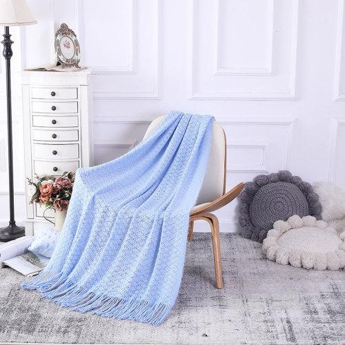 La manta del tiro del ODM con las borlas vende al por mayor la manta hecha punto decoración suave de la cubierta del sofá del sofá