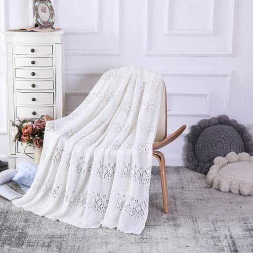 Couverture tricotée en gros de Jacquard de pointelle pour la plage de lit de chaises de canapé