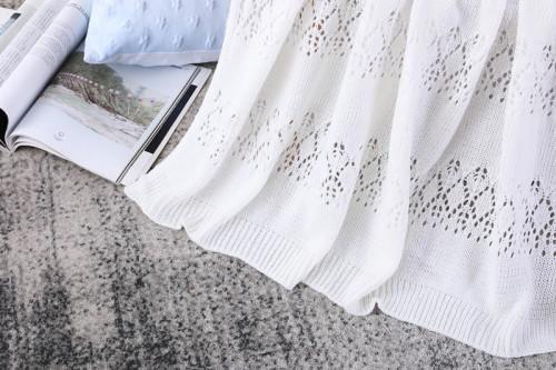 Оптовое жаккардовое одеяло Pointelle вязанное для пляжа кровати кресел дивана