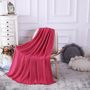 OEM Knit Throw Blanket Wholesale Lightweight Cable Knit Sweater Style