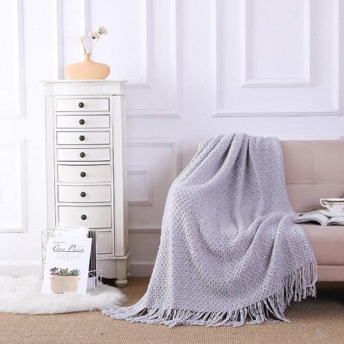 Couverture tricotée moelleuse en gros avec des glands doux confortable léger-toutes les saisons