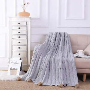 Wholesale Chenille Knitted Throw Blanket with Pom Poms From Chinese Supplier