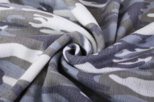 Manta de punto impresa camuflaje al por mayor con borlas de fábrica china
