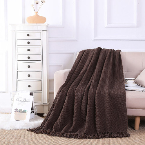 OEM Knitted Blanket With Tassels Wholesale Soft Home Throw Blanket