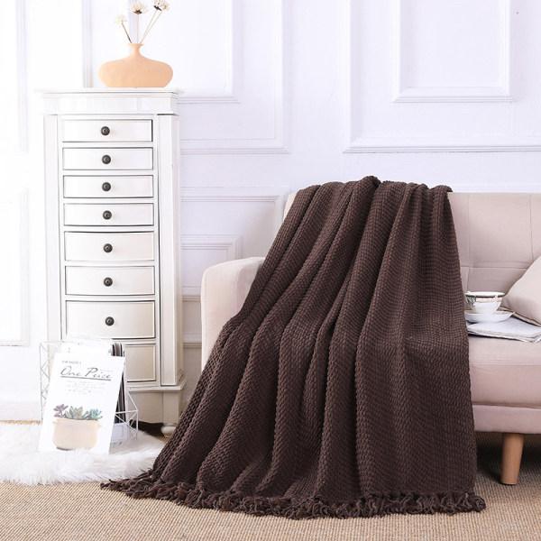 OEM трикотажное одеяло с кисточками оптом мягкое домашнее одеяло