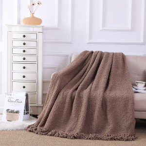 ODM Knitted Throw Blanket Wholesale Taupe Soft Knit With Tassels Style