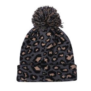 OEM женские вязаные леопардовые шапки оптом с антипиллингом