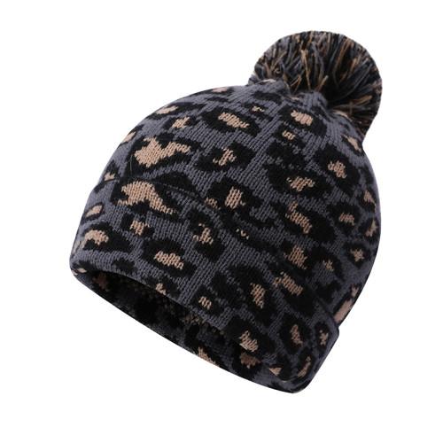 Las señoras del OEM hicieron punto los sombreros anti-pilling de la venta al por mayor del modelo del leopardo
