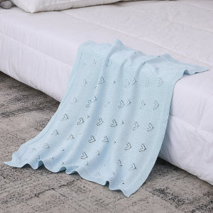Wholesale Heart Pattern Organic Pointelle Jacquard Knitted Baby Blanket