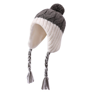 OEM ladies knitted  Earflap Beanie wholesale Anti-pilling Hat Knitted Pom