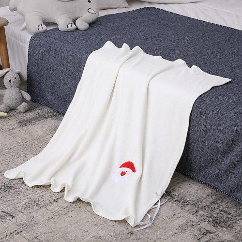 Супер мягкое трикотажное детское одеяло для вторичной переработки, вышитое с рисунком Санты.