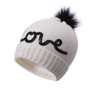 OEM ladies knitted double Layer Fleece Warm Linning wholesale anti-pilling hats with Embroidered pattern