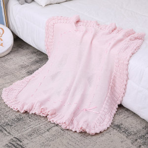 Pink Baby Organic Blanket Shawl Knitted Baby Blanket Wholesale With Lace