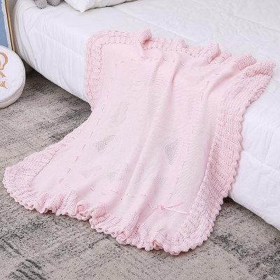 Venta al por mayor hecha punto chal orgánico de la manta del bebé rosado de la manta del bebé con el cordón