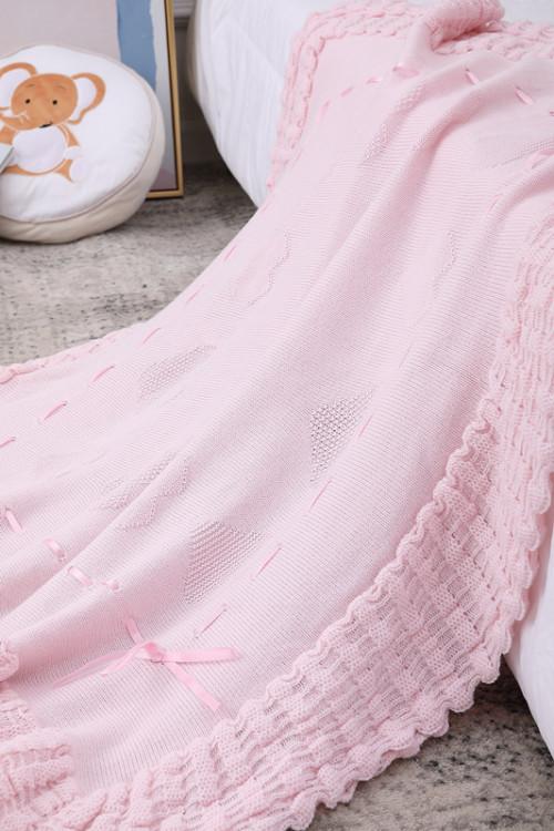 Розовое детское органическое одеяло Шаль вязанное детское одеяло оптом с кружевом