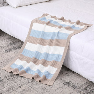 Knitted Baby Organic Blanket Swaddle Wrap Warm Wholesale Stroller Blankets for Newborn or Infant