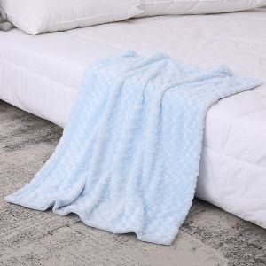 Blue Chenille Soft Knitted Baby Blanket Wholesale From Chinese Supplier